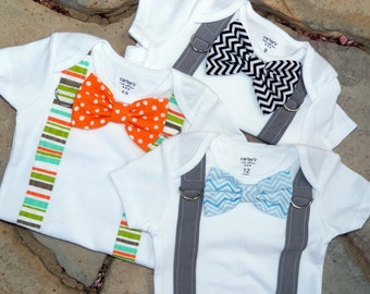 Baby Boy Bowtie & Suspender Bodysuit - Pick Your Own - Little Man, Photo Prop, Baby Shower Gift