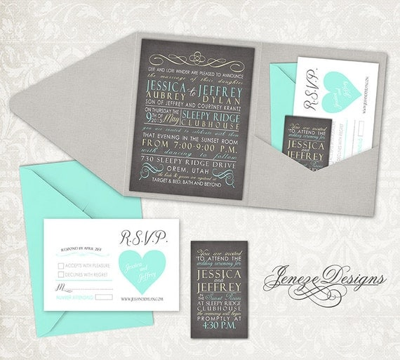 Wedding Invitations Pocket Style: Items Similar To Wedding Invitation