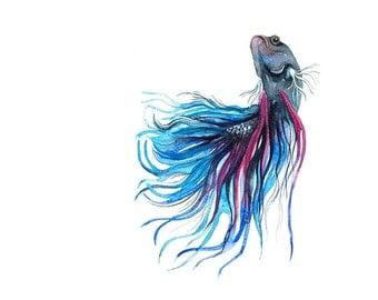 Siamese Fighting Fish Watercolor Illustration Print Turquoise Navy Blue Purple Sea
