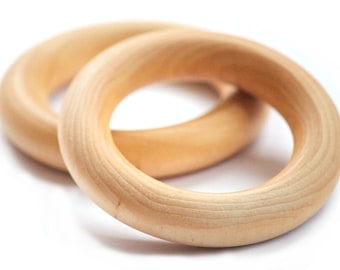 Party Pack of 12 - Plain Wooden Teething rings - Baby Gift - Natural Wooden Baby Toy - Waldorf Baby