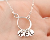 Personalized Infnity Necklace, Sterling Silver, Personalized Necklace, Mothers Necklace, Initial Necklace, Grandma Necklace, Mothers Jewelry