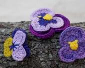 Crochet Flower Pin Brooch.Pansy, Viola, Lavender ,Lilac ,Forget-me-not Textile Flower.Purple Violet Floral Fiber Accessory .Evelyn Weissmann