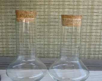 Set of 2 Vintage Captain's Decanter, Libbey's Glass Jar with Cork Lid, Mid Century Modern Glass Jar