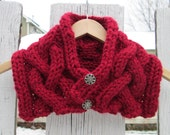 Christmas Poinsettia Red Sparkle Cowl with Silver Buttons - Made to Order