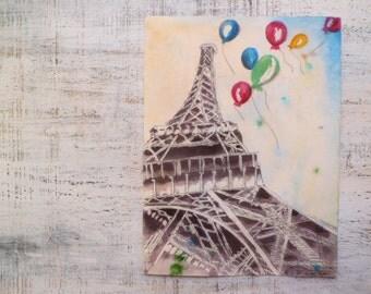 Spring in Paris, France, Eiffel Tower, original watercolor 8x11 watercolor nursery art
