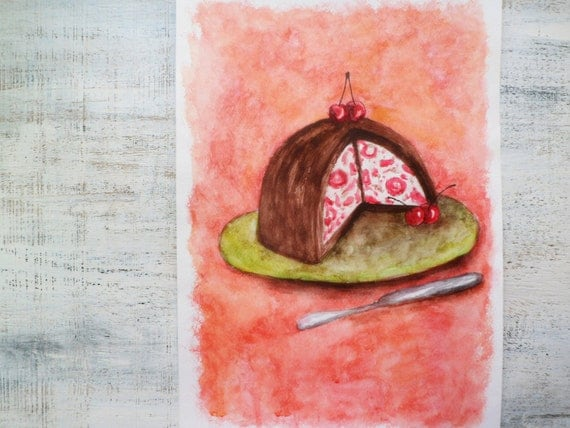 "Large original watercolor Cherry Cake 12""x16 inches watercolor nursery art"