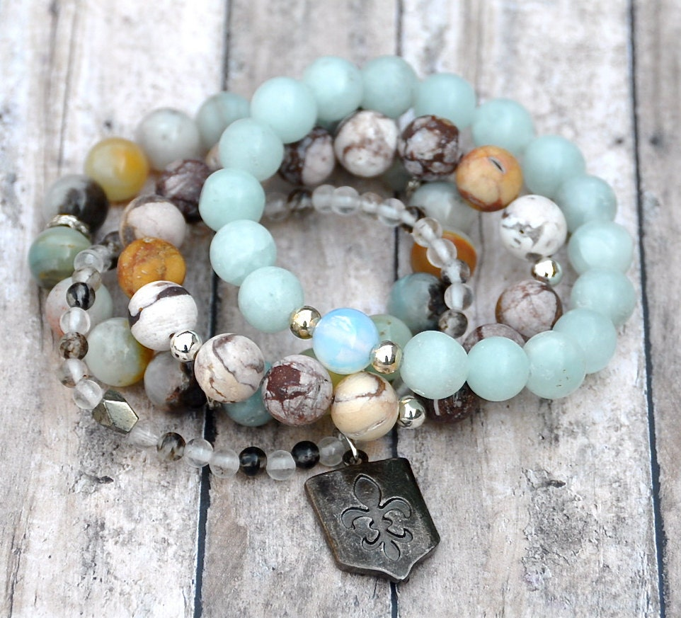 Natural Stone Beads : Reserved stack of natural stone bead bracelets layering