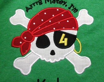 Pirate  Skull and Crossbones Applique Birthday Shirt