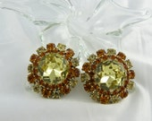 Massive Sunflower Rhinestone Clip Earrings