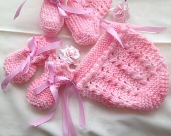 Baby pink bonnet set FREE UK SHIPPING