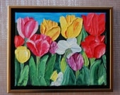 ORIGINAL Oil Painting-Tulips and Daffodils Impasto Art by Trupti