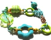 SALE! Serenhippity- handmade lampwork bead  and artisan bead and component mixed-media bracelet