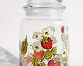 Vintage Strawberry Painted Glass Jar by Triguba / Anchor Hocking