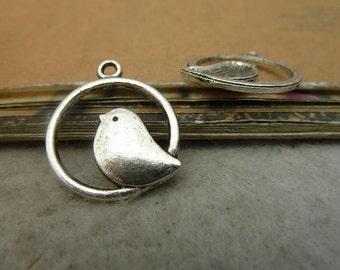 40PCS antique silver 18mm round bird charm pendant- WB36