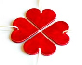 Wedding Favor Ceramic Red Hearts Christmas Ornaments Minimalist Love Home Decoration Valentine Gift Set of 4