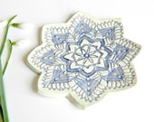 Lace Ceramic Plate Ombre Blue Pottery Flower Dish Ring Holder