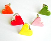 Heart Ceramic Adjustable Ring Spring Colors Cocktail Ring Every Day Modern Pottery Jewelry