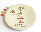 Ceramic Ring Dish Good Day Plate Blond Girl with Flower Polka Dots OOAK Candle Holder