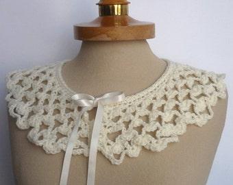 Peter Pan Collar, Crochet Collar, Victorian collar, ecru color, Detachable Collar Necklace, Ecru crochet Collar, Valentines gifts,