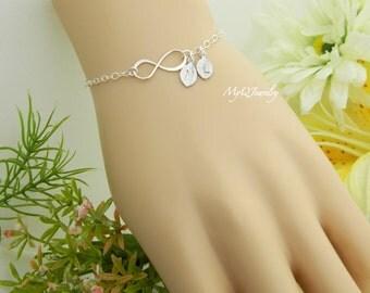 Custom Infinity Bracelet, TWO Initial Bracelet, Monogram Bracelet, Bridesmaid Gift, Couple Bracelet, Sister Jewelry, Best friends Bracelet
