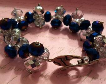 Navy & Clear Glass Bead Bracelet
