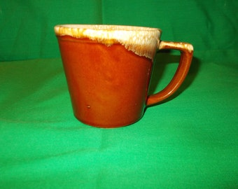 One (1), Coffee Mug, from McCoy, in the Brown Drip Pattern.