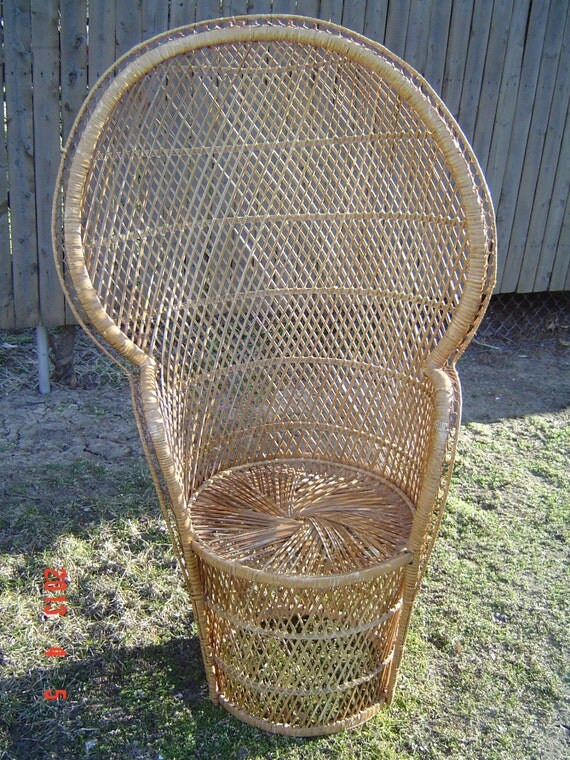 High Back Wicker Rattan Chair Peacock Fan Back by PennyBunny