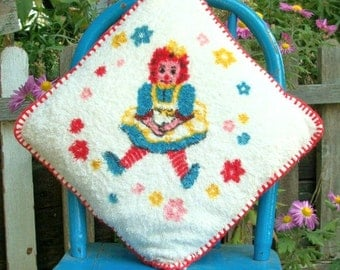 Vintage Raggedy Ann Terry Cloth Pillow with Red Blanket Stitching Red Yellow Blue White Pink Flowers Little Girls Bedroom