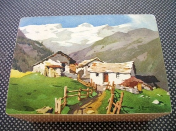 Vintage Made in Switzerland wooden music box plays Walzdream with a beautiful Scandanavian landscape scene on the top