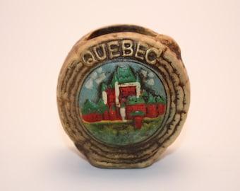 Vintage Ceramic Quebec, Canada Tree Stump Small Vase With Village- Colorful Vintage Home Decor-Souvenir
