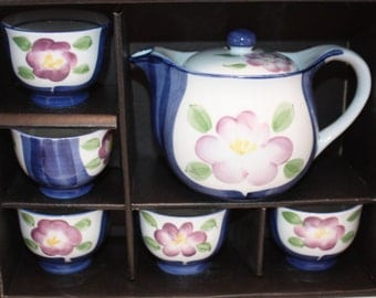 Fabulous Vintage Chinese Blue Floral Tea Set In Original Box-Set Includes Teapot with Lid and 5 Teacups-Mint Condition