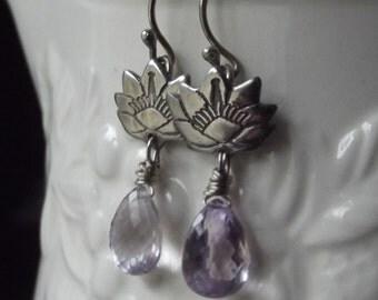 Magnolia and pink amethyst dangle ear rings