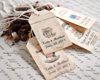 Tea Favor Tags Bridal Shower Favor Tags For Tea Wedding Favors