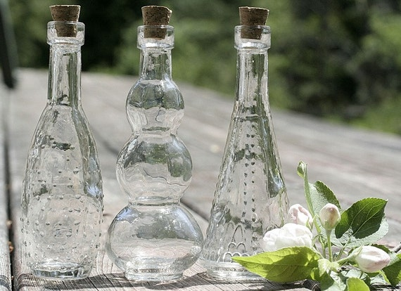 3 clear glass bottles 5 inches tall bottle by festivalreglass for Colored glass bottles with corks