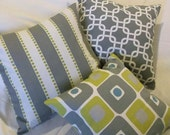 Set of 3, 18 inch pillow slipcovers, grey and citrine modern abstract design, decorative home decor