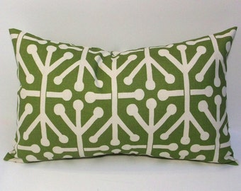 Olive green pillow cover, absract design, 12x20 lumbar accent pillow, throw pillow, home decor