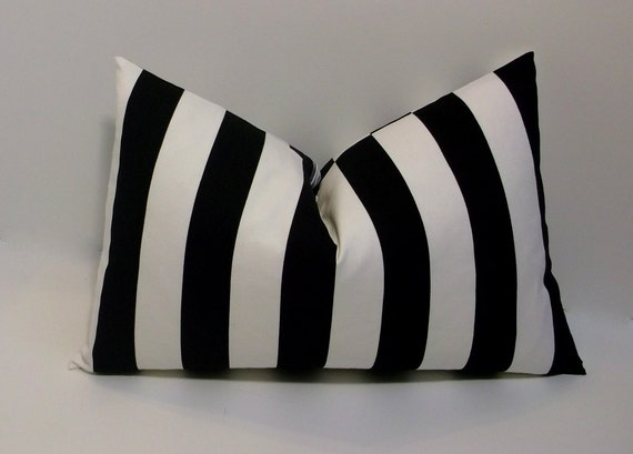 black and white stripe lumbar 12x18 decorative pillow cover. Black Bedroom Furniture Sets. Home Design Ideas