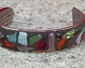 Mosaic Silverware Art Bracelet/ Metal Cuff/ Fashion Bracelet/ Glass Jewelry