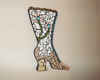 Victorian Boot Mosaic wall hanging, Mosaic Shoe, Flower Boot, Home decor, Girl's Room Decor, Powder Room Decor, Garden, Old Fashion Shoe
