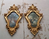 A pair of Vintage Italian Rococo Gilded Pictures