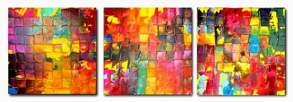 Original TRIPTYCH Art by Caroline Ashwood - Textured and contemporary abstract painting on canvas - FREE SHIPPING