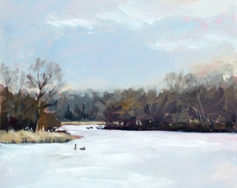 Plein air oil painting: Ice on Beck Lake
