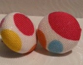 Colorful Polka Dot Fabric Covered Button Earrings
