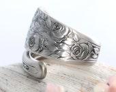 Vintage Spoon Ring - Rose & Leaf Spoon Ring - Spoon Jewelry - Silverware Jewelry - Spoon Ring - Silverware Spoon Ring (mcf  R120)