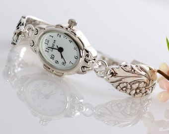 Vintage Spoon Watch - Evening Star Spoon Watch - Spoon Watch Bracelet - Silverware Spoon Watch - Silverware Jewelry (mcf A-W070)