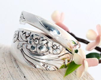Vintage Spoon Ring - Evening Star Spoon Ring - Silverware Spoon Ring - Floral Spoon Jewelry - Silverware Jewelry - Spoon Ring  (mcfR157)
