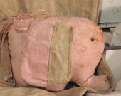 Shabby Chic Primitive Elephant Multi-Color Pink and Tan...SO Cute OOAK