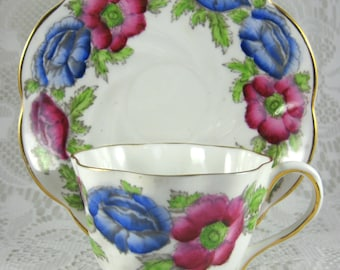 Iceland Poppy Teacup And Saucer Pink And Blue England 1930s Polychrome Salisbury