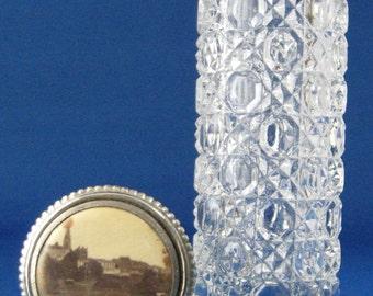 Edwardian Hatpin Holder Souvenir Photo Waffle Glass Bottle Antique England 1900-1910