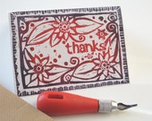 Hand printed thank you greeting card